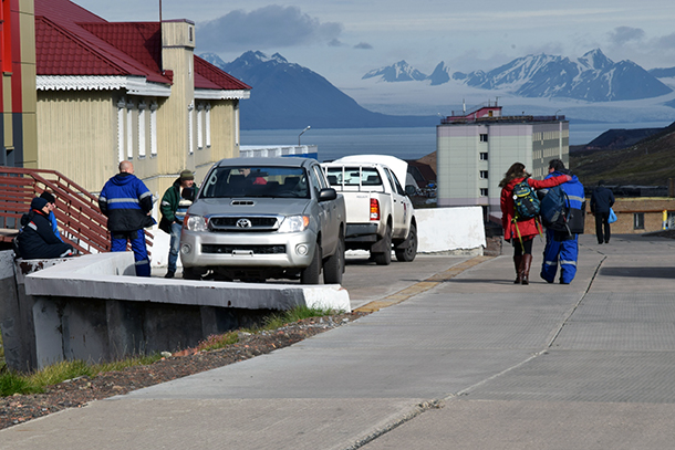 Workers in front of the entrance to the Arktikugol mine in Barentsburg, Norway.